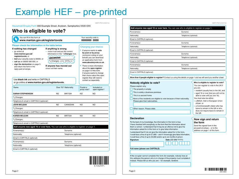 Example HEF – pre-printed 12