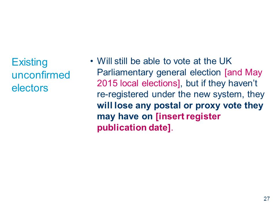 Existing unconfirmed electors Will still be able to vote at the UK Parliamentary general election [and May 2015 local elections], but if they haven't re-registered under the new system, they will lose any postal or proxy vote they may have on [insert register publication date].
