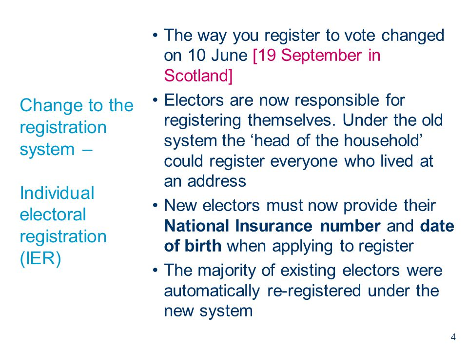 Change to the registration system – Individual electoral registration (IER) The way you register to vote changed on 10 June [19 September in Scotland] Electors are now responsible for registering themselves.