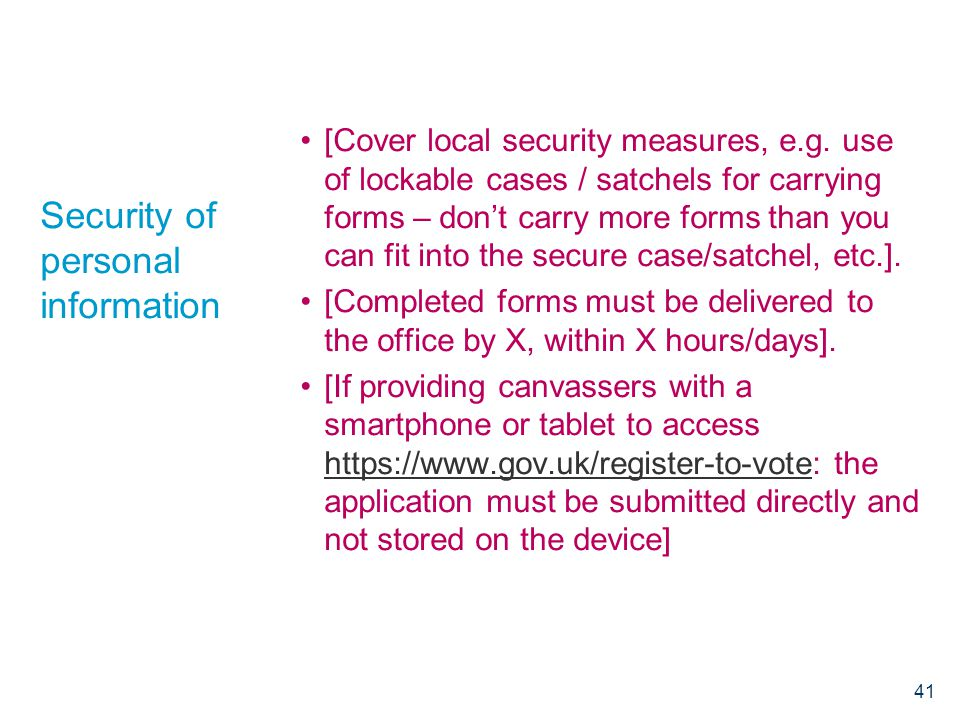 Security of personal information [Cover local security measures, e.g.