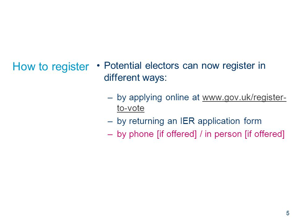 How to register Potential electors can now register in different ways: –by applying online at www.gov.uk/register- to-votewww.gov.uk/register- to-vote