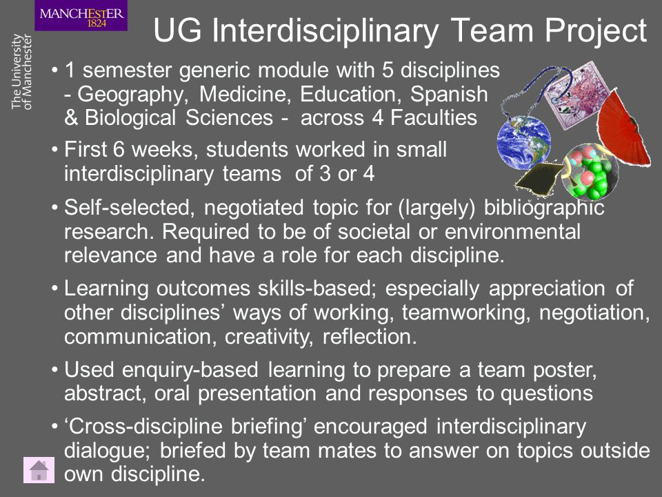 UG Interdisciplinary Team Project 1 semester generic module with 5 disciplines - Geography, Medicine, Education, Spanish & Biological Sciences - acros