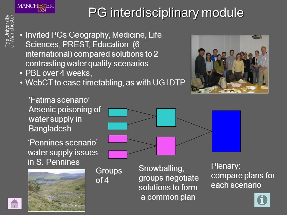 PG interdisciplinary module 'Pennines scenario' water supply issues in S.