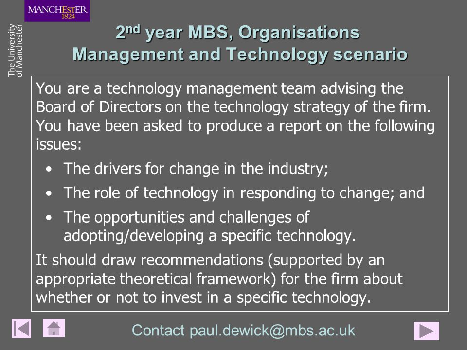 You are a technology management team advising the Board of Directors on the technology strategy of the firm.