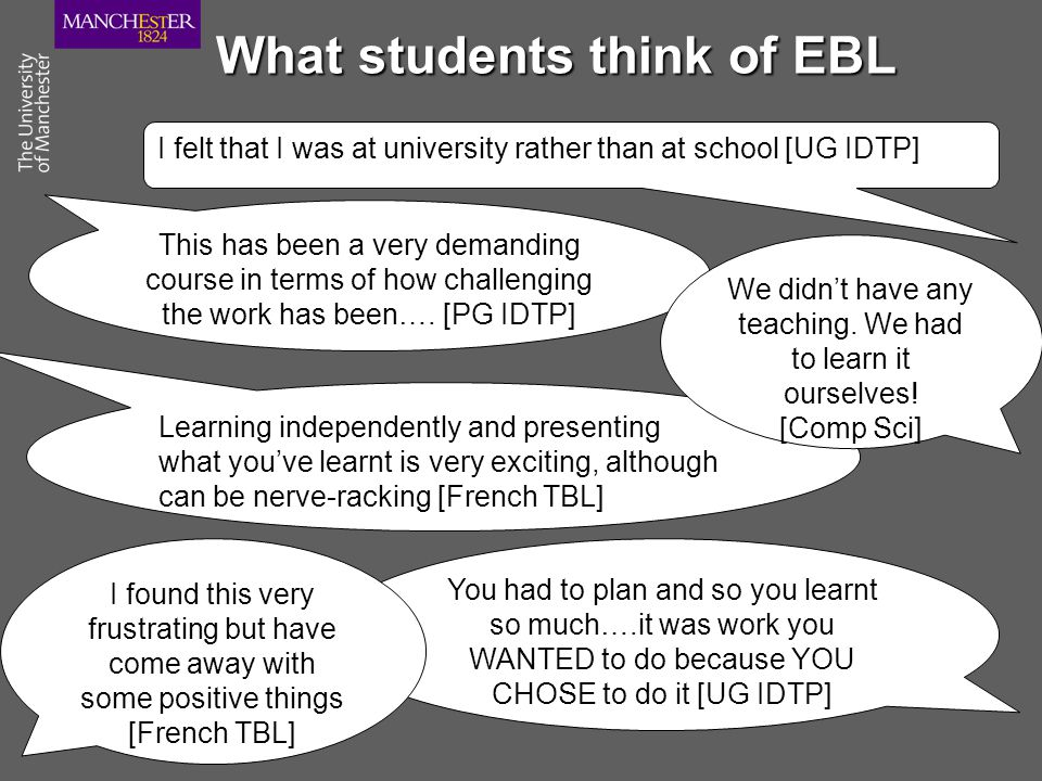 What students think of EBL I felt that I was at university rather than at school [UG IDTP] You had to plan and so you learnt so much….it was work you WANTED to do because YOU CHOSE to do it [UG IDTP] This has been a very demanding course in terms of how challenging the work has been….