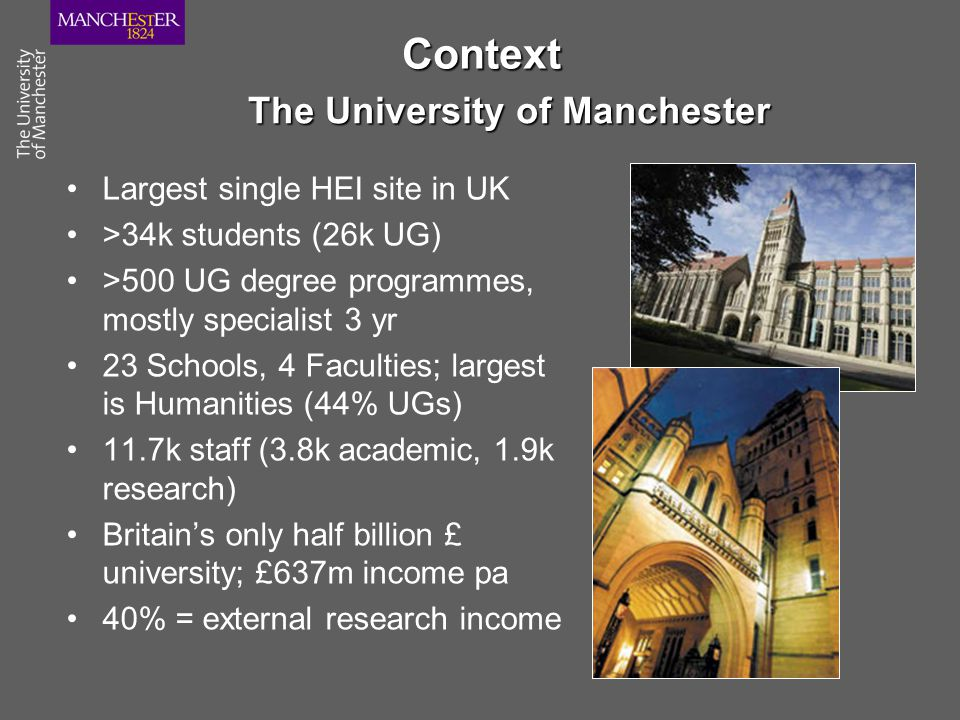 Context Largest single HEI site in UK >34k students (26k UG) >500 UG degree programmes, mostly specialist 3 yr 23 Schools, 4 Faculties; largest is Hum