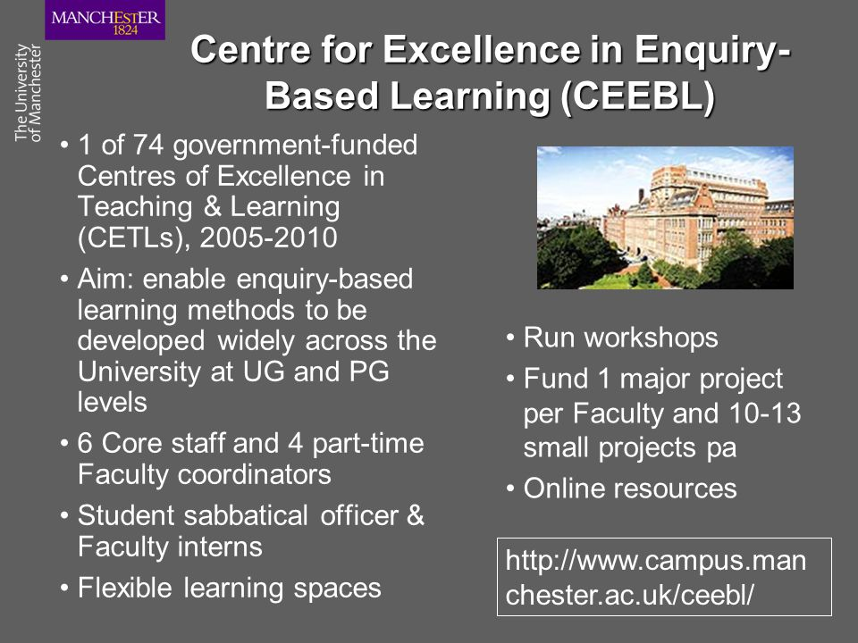 Centre for Excellence in Enquiry- Based Learning (CEEBL) 1 of 74 government-funded Centres of Excellence in Teaching & Learning (CETLs), 2005-2010 Aim