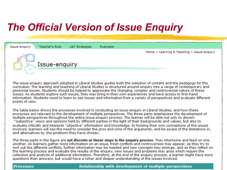 The Official Version of Issue Enquiry