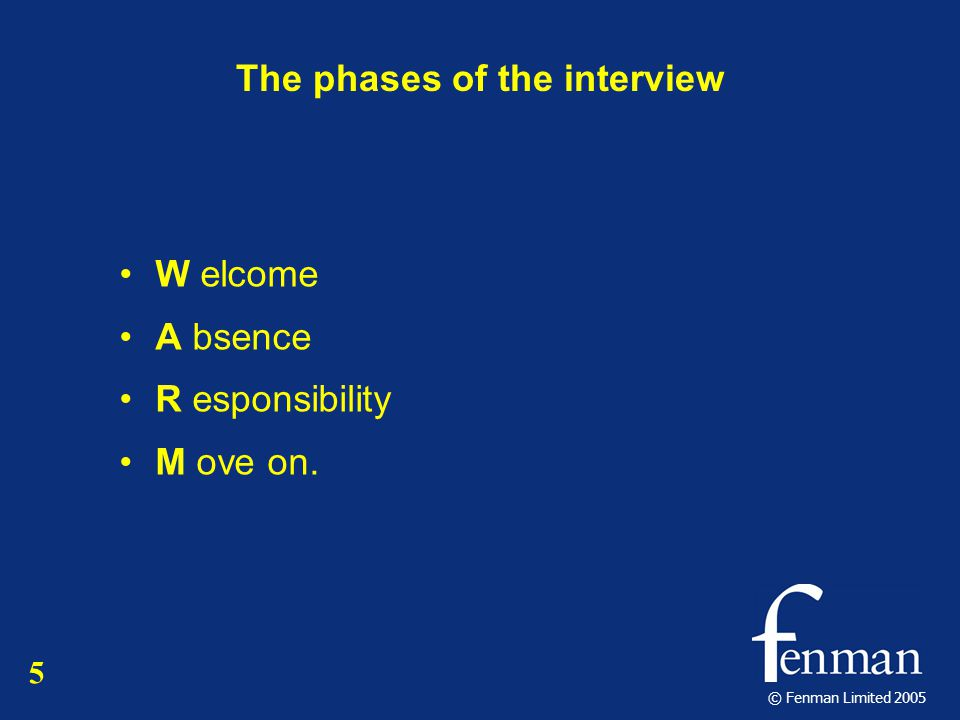 © Fenman Limited 2005 The phases of the interview W elcome A bsence R esponsibility M ove on. 5