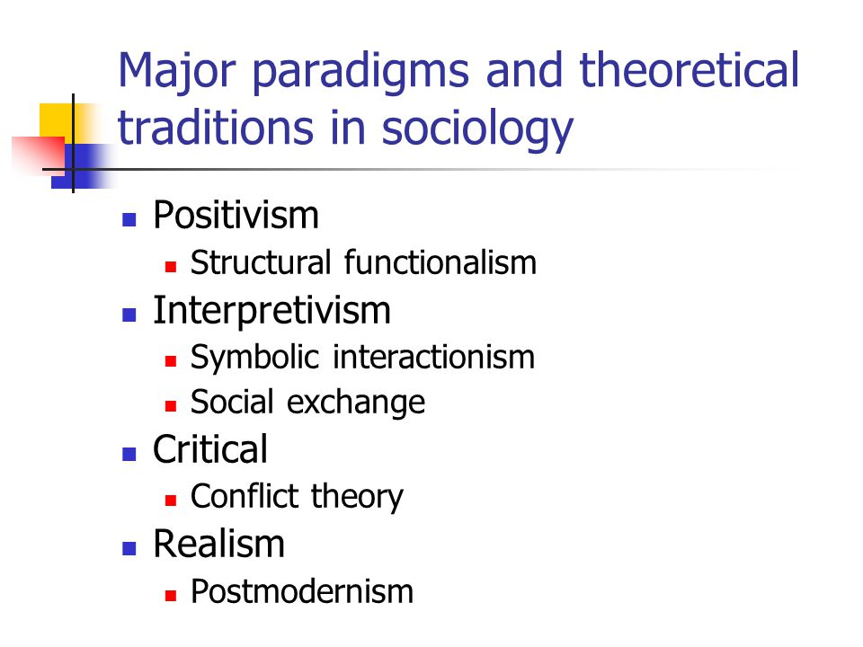 Major paradigms and theoretical traditions in sociology Positivism Structural functionalism Interpretivism Symbolic interactionism Social exchange Critical Conflict theory Realism Postmodernism