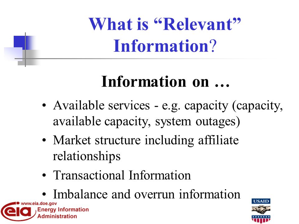 What is Relevant Information. Information on … Available services - e.g.