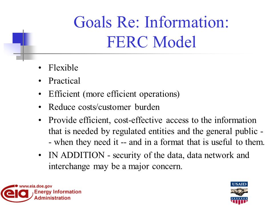 Goals Re: Information: FERC Model Flexible Practical Efficient (more efficient operations) Reduce costs/customer burden Provide efficient, cost-effective access to the information that is needed by regulated entities and the general public - - when they need it -- and in a format that is useful to them.