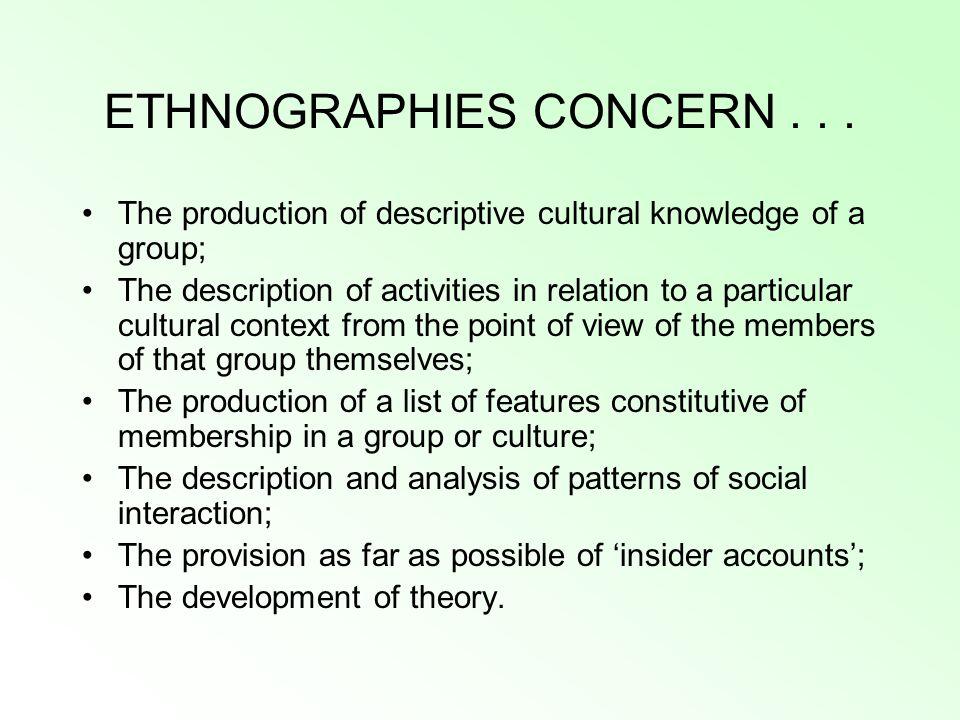 ETHNOGRAPHIES CONCERN...