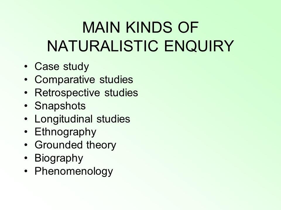 MAIN KINDS OF NATURALISTIC ENQUIRY Case study Comparative studies Retrospective studies Snapshots Longitudinal studies Ethnography Grounded theory Biography Phenomenology