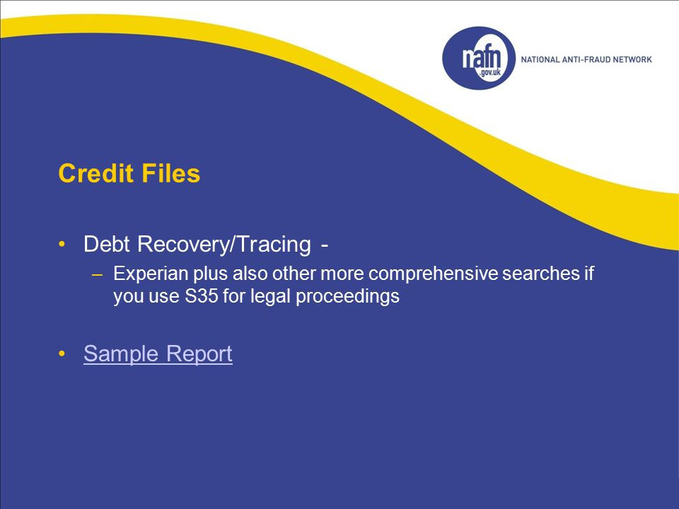 Credit Files Debt Recovery/Tracing - –Experian plus also other more comprehensive searches if you use S35 for legal proceedings Sample Report