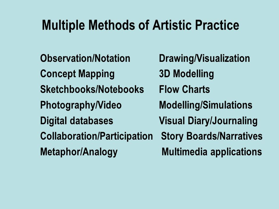 Multiple Methods of Artistic Practice Observation/Notation Drawing/Visualization Concept Mapping 3D Modelling Sketchbooks/Notebooks Flow Charts Photography/Video Modelling/Simulations Digital databases Visual Diary/Journaling Collaboration/Participation Story Boards/Narratives Metaphor/Analogy Multimedia applications