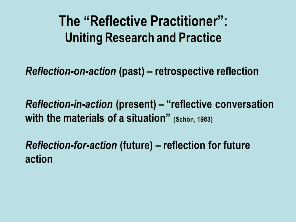 The Reflective Practitioner : Uniting Research and Practice Reflection-on-action (past) – retrospective reflection Reflection-in-action (present) – reflective conversation with the materials of a situation (Schön, 1983) Reflection-for-action (future) – reflection for future action
