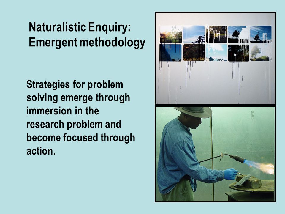 Naturalistic Enquiry: Emergent methodology Strategies for problem solving emerge through immersion in the research problem and become focused through action.