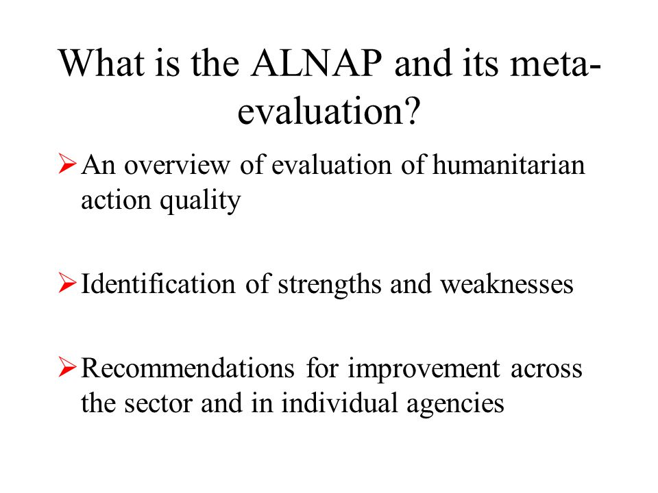 What is the ALNAP and its meta- evaluation.