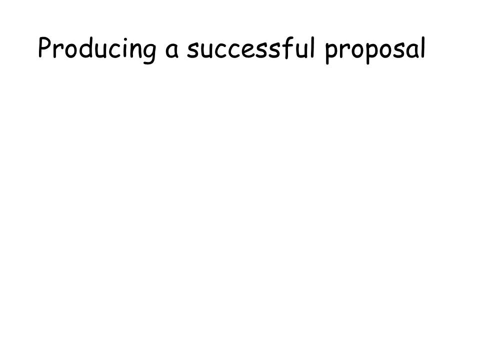 Producing a successful proposal
