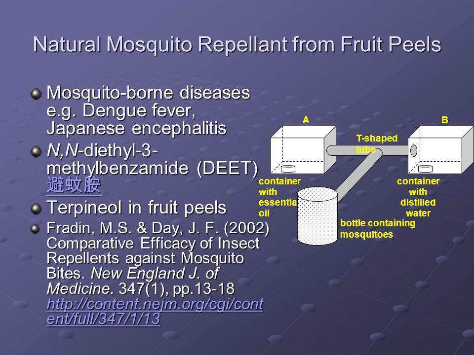 Natural Mosquito Repellant from Fruit Peels Mosquito-borne diseases e.g. Dengue fever, Japanese encephalitis N,N-diethyl-3- methylbenzamide (DEET) 避蚊胺