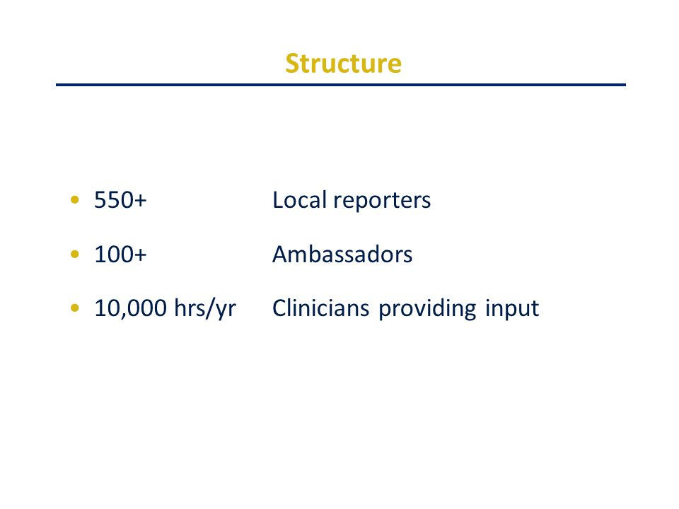 Structure 550+Local reporters 100+Ambassadors 10,000 hrs/yrClinicians providing input