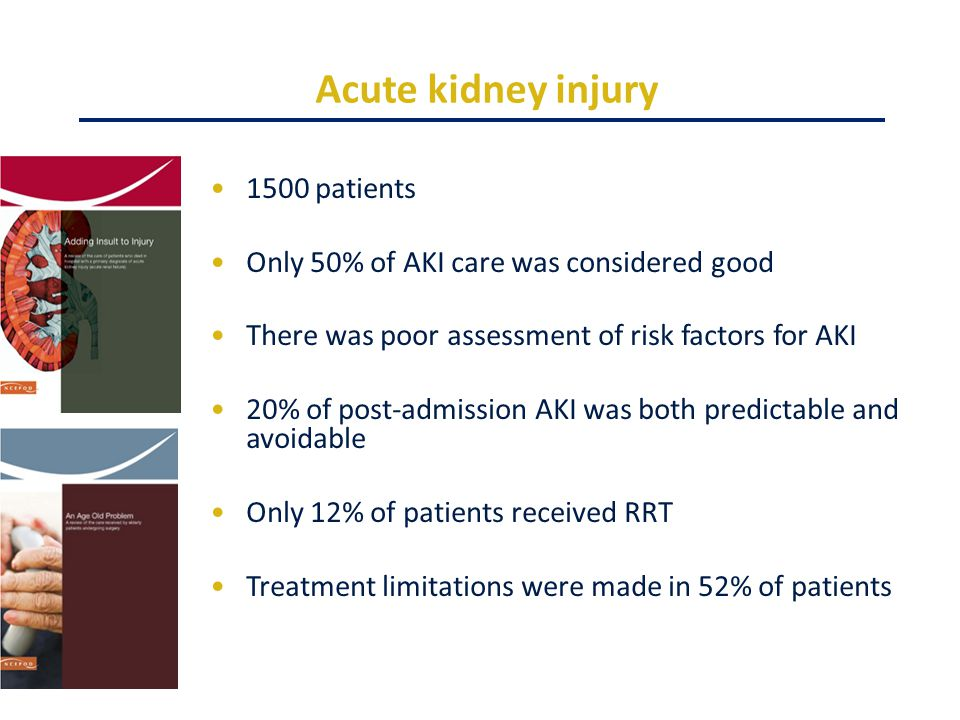 Acute kidney injury 1500 patients Only 50% of AKI care was considered good There was poor assessment of risk factors for AKI 20% of post-admission AKI was both predictable and avoidable Only 12% of patients received RRT Treatment limitations were made in 52% of patients