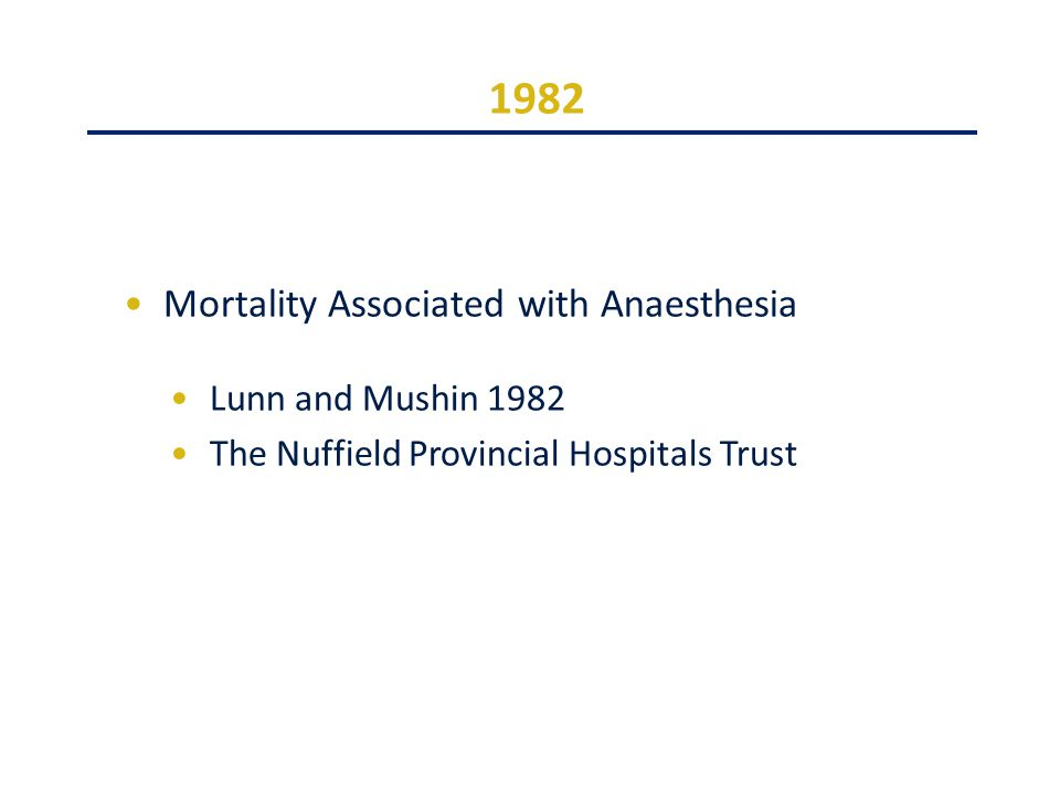 1982 Mortality Associated with Anaesthesia Lunn and Mushin 1982 The Nuffield Provincial Hospitals Trust