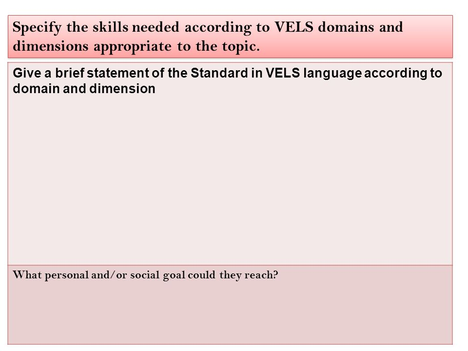 Give a brief statement of the Standard in VELS language according to domain and dimension What personal and/or social goal could they reach.