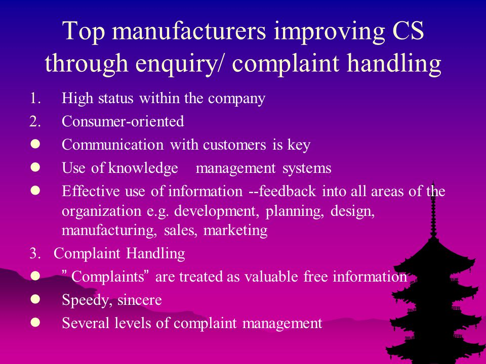 Top manufacturers improving CS through enquiry/ complaint handling 1.High status within the company 2.Consumer-oriented Communication with customers is key Use of knowledge management systems Effective use of information --feedback into all areas of the organization e.g.