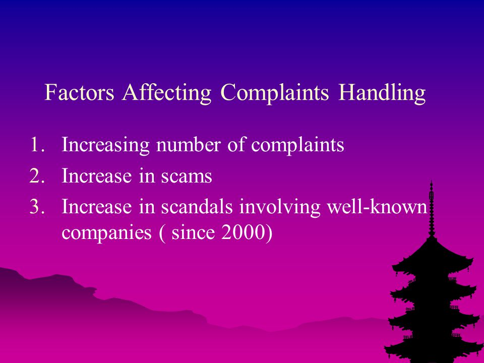 Factors Affecting Complaints Handling 1.Increasing number of complaints 2.Increase in scams 3.Increase in scandals involving well-known companies ( since 2000)