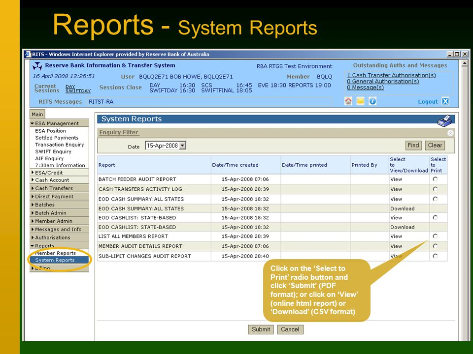 Reports - System Reports Click on the 'Select to Print' radio button and click 'Submit' (PDF format); or click on 'View' (online html report) or 'Download' (CSV format)