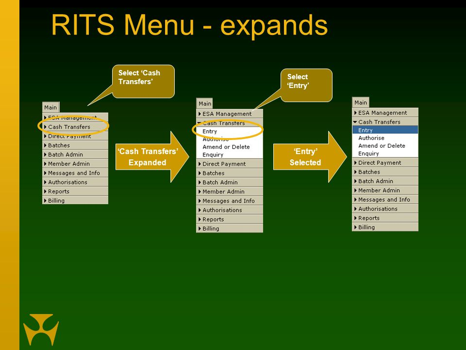 RITS Menu - expands 'Entry' Selected 'Cash Transfers' Expanded Select 'Cash Transfers' Select 'Entry'
