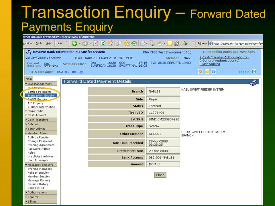 Transaction Enquiry – Forward Dated Payments Enquiry