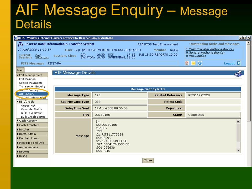 AIF Message Enquiry – Message Details