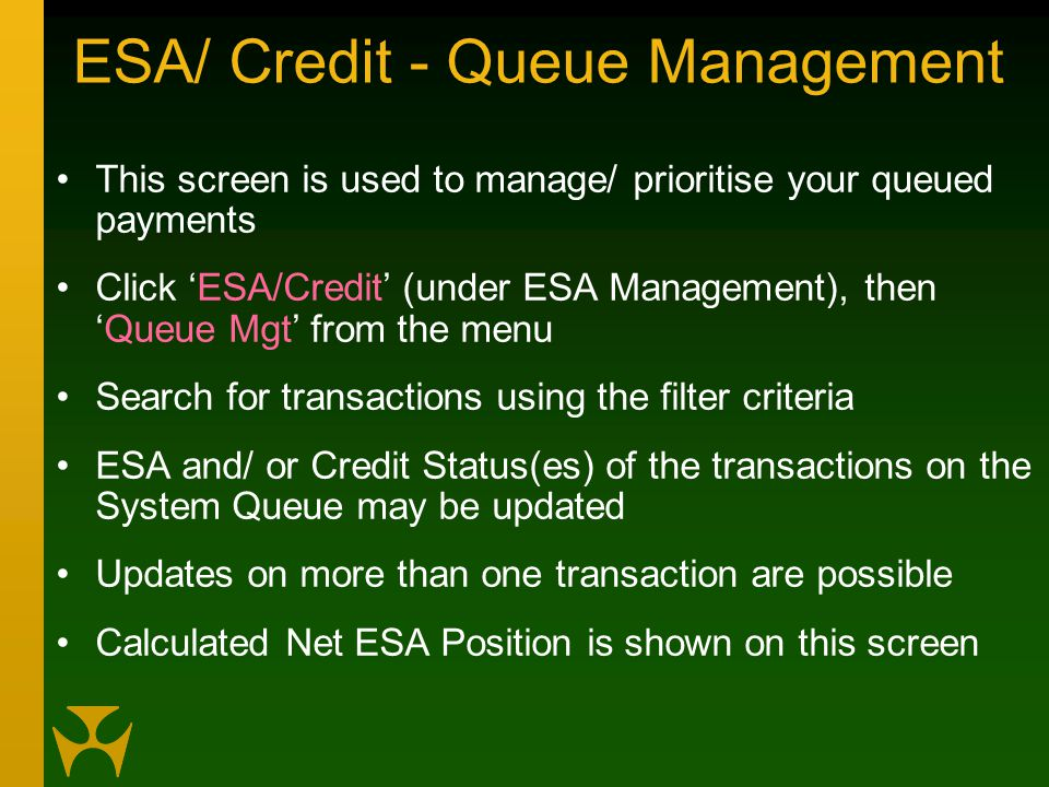 ESA/ Credit - Queue Management This screen is used to manage/ prioritise your queued payments Click 'ESA/Credit' (under ESA Management), then 'Queue Mgt' from the menu Search for transactions using the filter criteria ESA and/ or Credit Status(es) of the transactions on the System Queue may be updated Updates on more than one transaction are possible Calculated Net ESA Position is shown on this screen