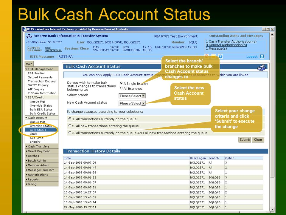 Bulk Cash Account Status Select the branch/ branches to make bulk Cash Account status changes to Select the new Cash Account status Select your change criteria and click 'Submit' to execute the change