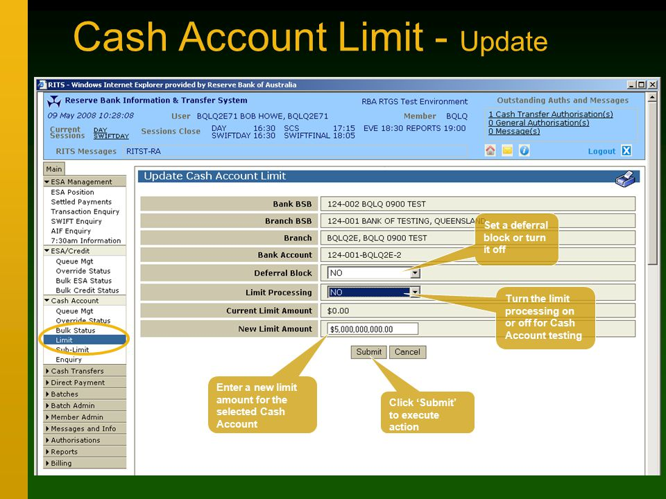 Cash Account Limit - Update Set a deferral block or turn it off Enter a new limit amount for the selected Cash Account Turn the limit processing on or off for Cash Account testing Click 'Submit' to execute action