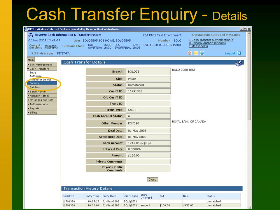 Cash Transfer Enquiry - Details