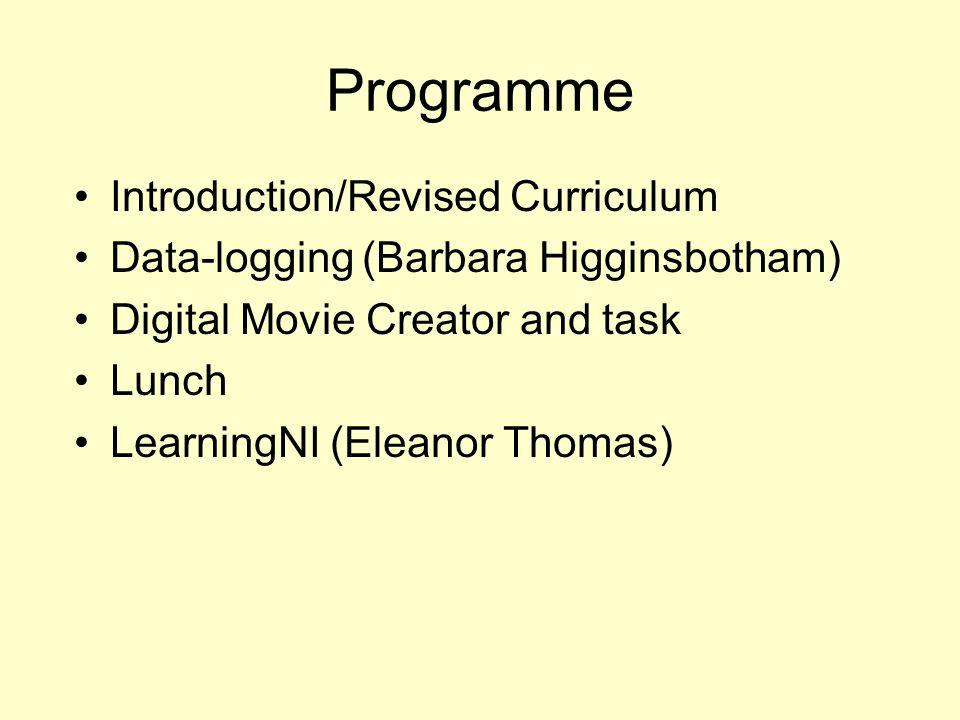Programme Introduction/Revised Curriculum Data-logging(Barbara Higginsbotham) Digital Movie Creator and task Lunch LearningNI (Eleanor Thomas)