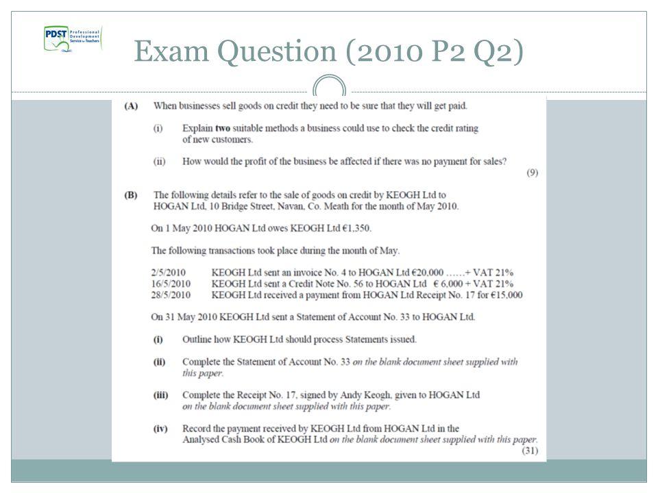 Exam Question (2010 P2 Q2)