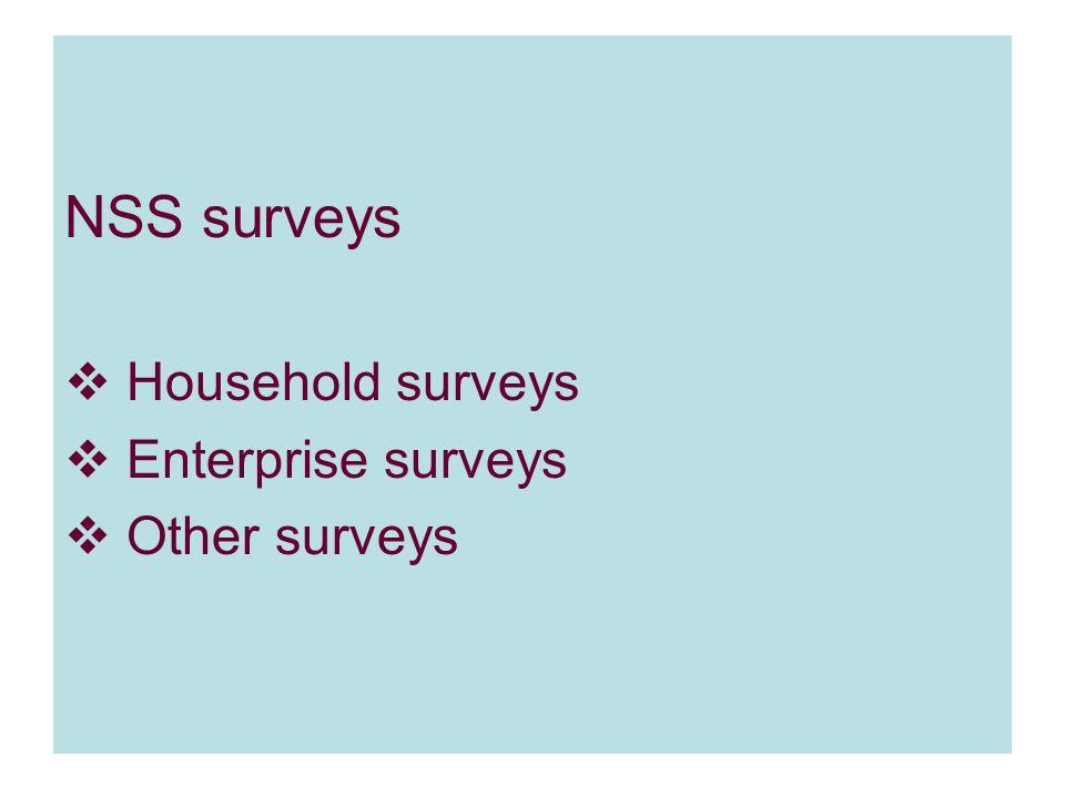 NSS surveys  Household surveys  Enterprise surveys  Other surveys