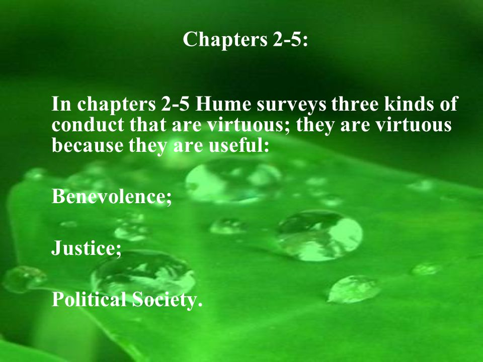 Chapters 2-5: In chapters 2-5 Hume surveys three kinds of conduct that are virtuous; they are virtuous because they are useful: Benevolence; Justice; Political Society.