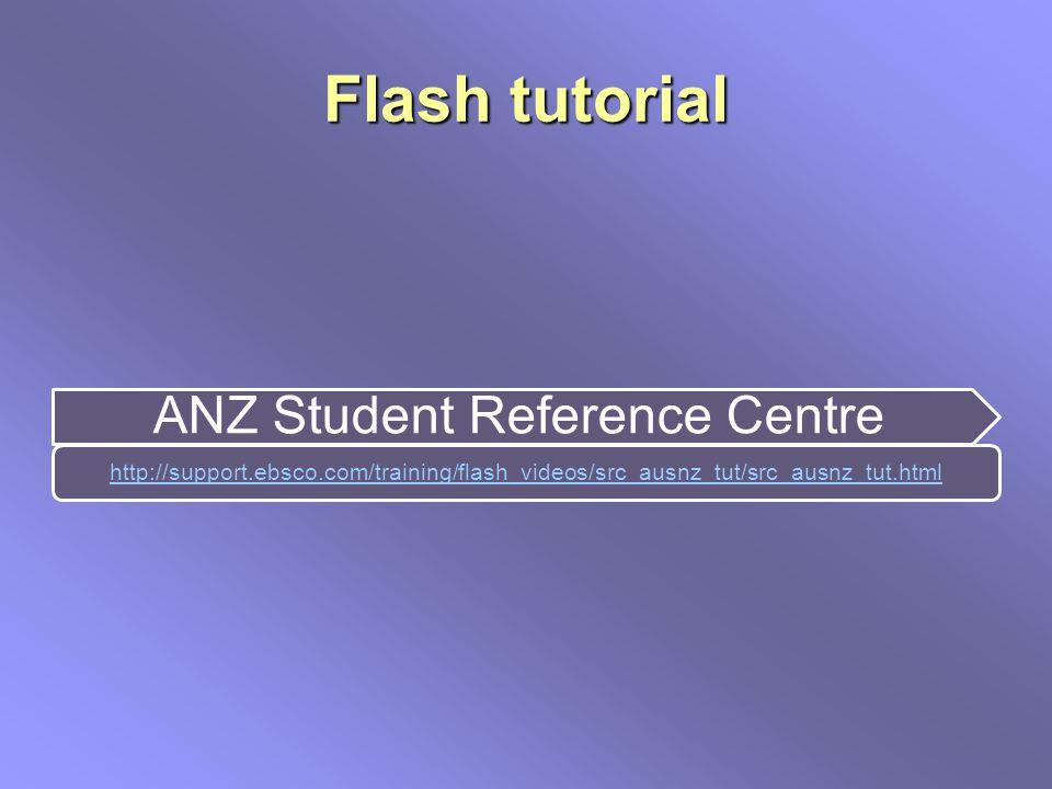 Flash tutorial ANZ Student Reference Centre http://support.ebsco.com/training/flash_videos/src_ausnz_tut/src_ausnz_tut.html