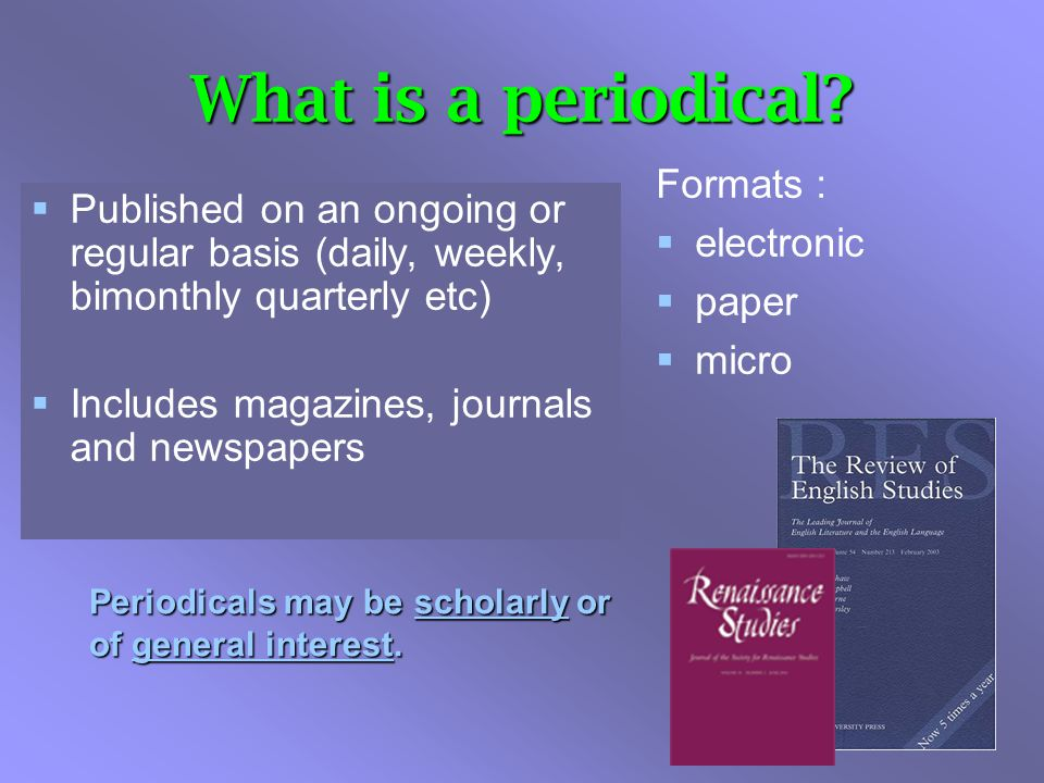 Databases & Periodical Articles Journal articles are a good starting point for:  very specific topics and more in-depth information  researching accredited authors with some degree of expertise in their field  Different viewpoints  Recently published articles (e.g for science, technology, medical, and environmental issues
