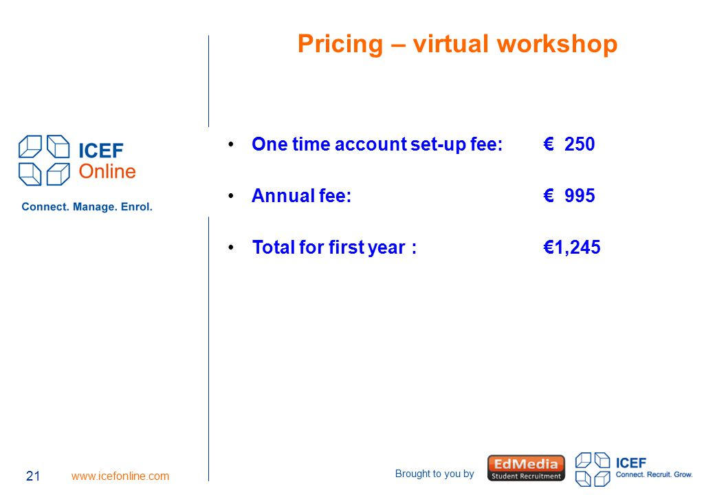 21 www.icefonline.com Brought to you by 21 Pricing – virtual workshop One time account set-up fee: € 250 Annual fee: € 995 Total for first year : €1,2