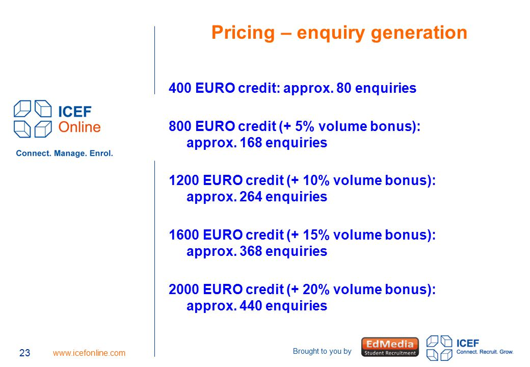 23 www.icefonline.com Brought to you by 23 Pricing – enquiry generation 400 EURO credit: approx. 80 enquiries 800 EURO credit (+ 5% volume bonus): app