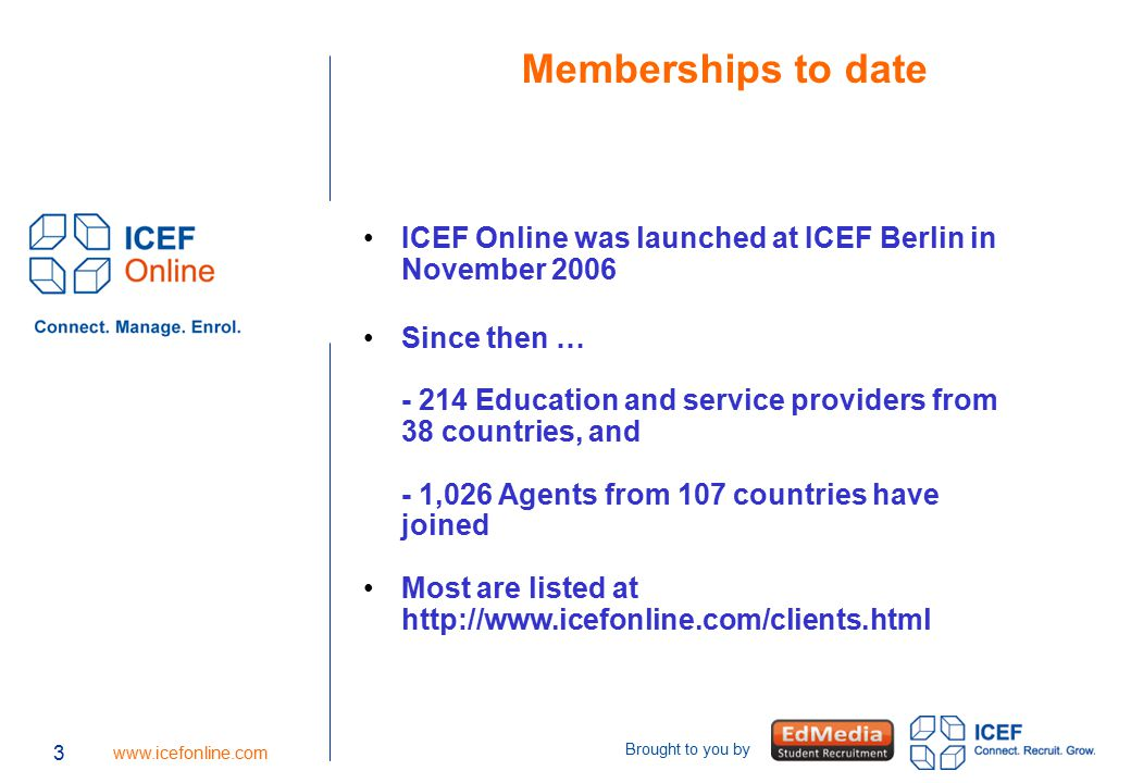 3 www.icefonline.com Brought to you by 3 Memberships to date ICEF Online was launched at ICEF Berlin in November 2006 Since then … - 214 Education and