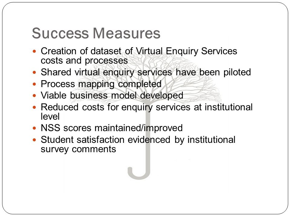 Success Measures Creation of dataset of Virtual Enquiry Services costs and processes Shared virtual enquiry services have been piloted Process mapping