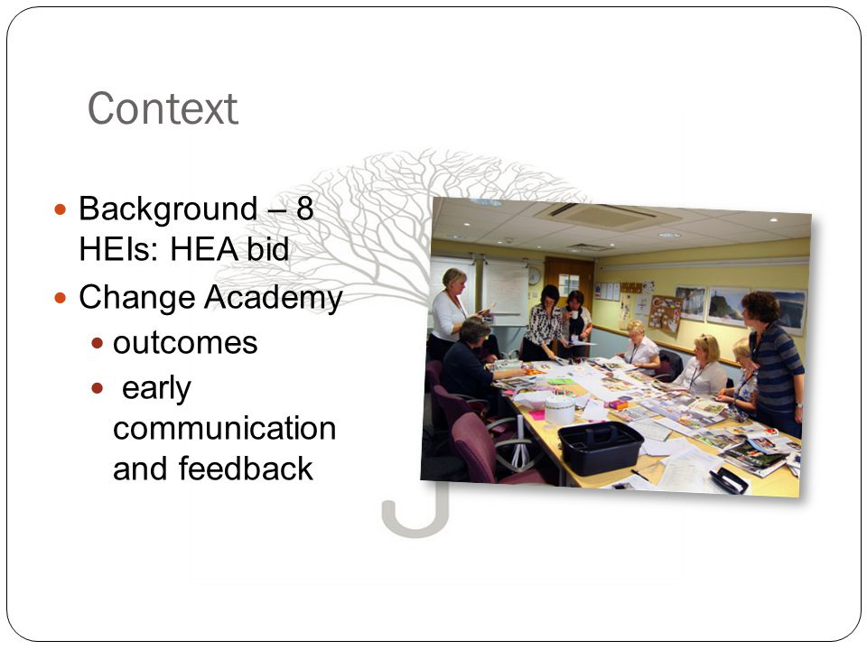 Context Background – 8 HEIs: HEA bid Change Academy outcomes early communication and feedback